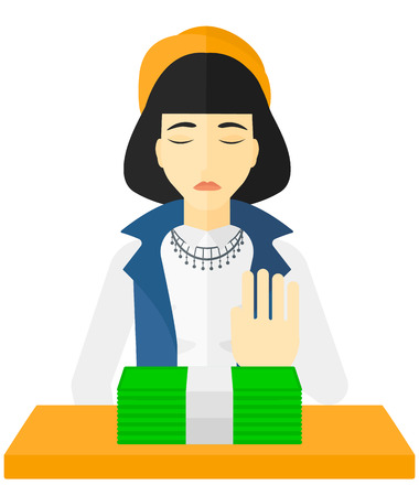 denial: An asian woman moving dollar bills away and refusing to take a bribe vector flat design illustration isolated on white background.