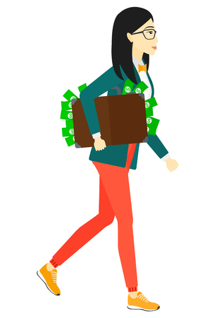 asian business: An asian business woman walking with suitcase full of money vector flat design illustration isolated on white background.