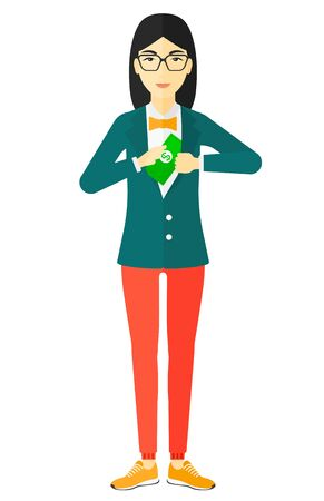 putting: An asian business woman putting money in her pocket vector flat design illustration isolated on white background.