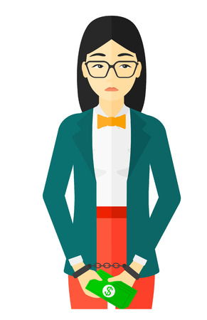 An asian business woman in handcuffs with money in hands vector flat design illustration isolated on white background. Illustration