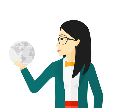 asian business: An asian business woman holding Earth planet in hand vector flat design illustration isolated on white background.