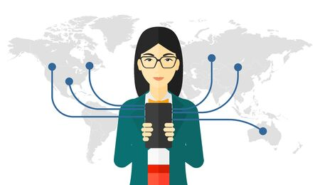 An asian woman holding smartphone connected with the whole world vector flat design illustration isolated on white background. Illustration