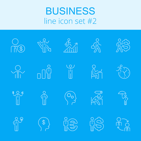 office stuff: Business icon set. Vector light blue icon isolated on dark blue background.