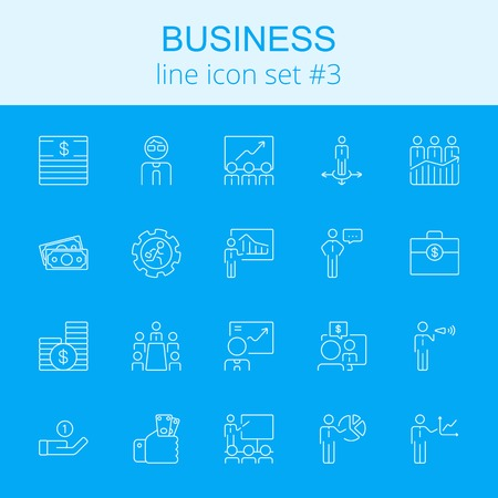 Business icon set. Vector light blue icon isolated on dark blue background.