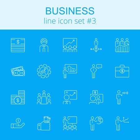 Icône d'affaires défini. icône bleue vecteur de lumière isolé sur fond bleu foncé. Banque d'images - 51995805
