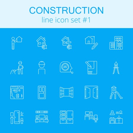Construction icon set. Vector light blue icon isolated on dark blue background.