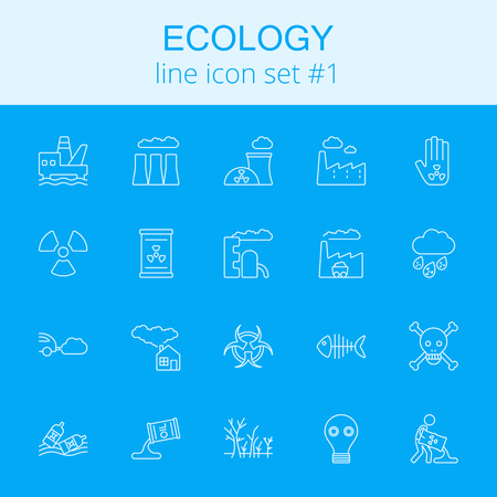 Ecology icon set. Vector light blue icon isolated on dark blue background.