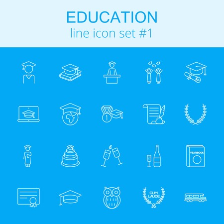 yearbook: Education icon set. Vector light blue icon isolated on dark blue background. Illustration