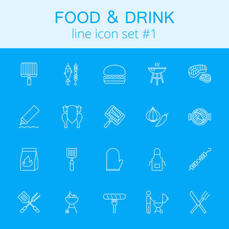 Food and drink icon set. Vector light blue icon isolated on dark blue background.