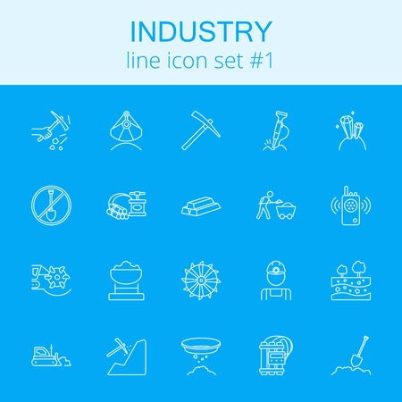 Industry icon set. Vector light blue icon isolated on dark blue background.