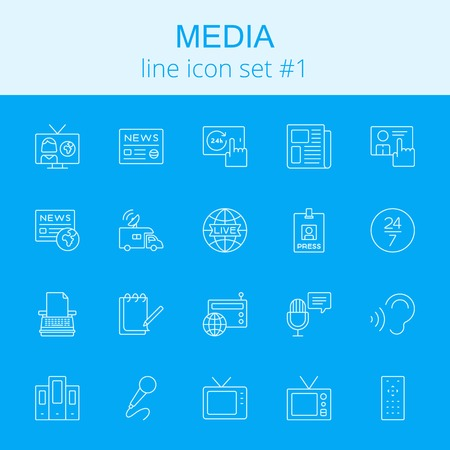 Media icon set. Vector light blue icon isolated on dark blue background.