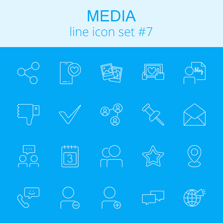 users video: Media icon set. Vector light blue icon isolated on dark blue background.