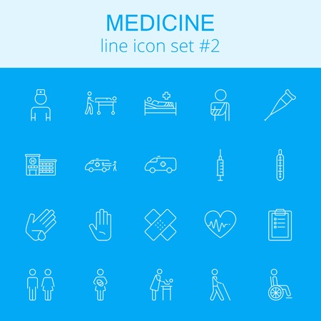 termometer: Medicine icon set. Vector light blue icon isolated on dark blue background.