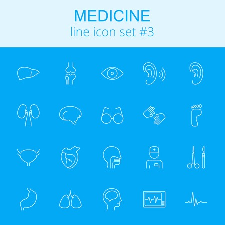 Medicine icon set. Vector light blue icon isolated on dark blue background.