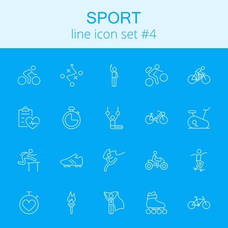 Sport icon set. Vector light blue icon isolated on dark blue background.