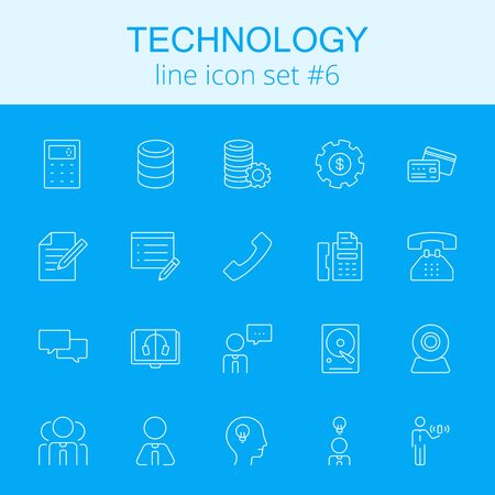 data system: Technology icon set. Vector light blue icon isolated on dark blue background.