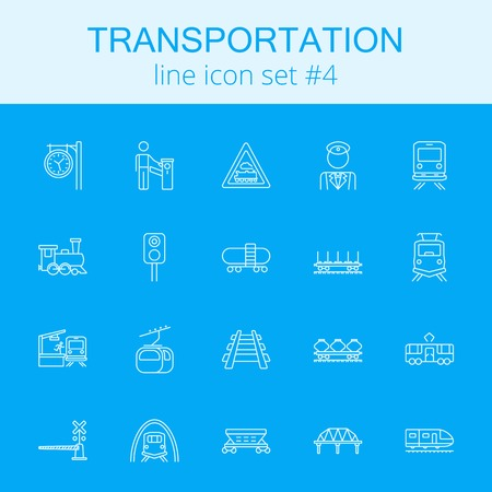 goods train: Transportation icon set. Vector light blue icon isolated on dark blue background.