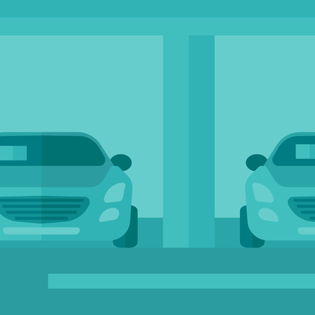 buying a car: Background of car shop vector flat design illustration. Square layout.