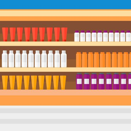 toiletry: Background of shelves in supermarket with toiletry vector flat design illustration. Square layout.
