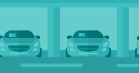 dealership: Background of car shop vector flat design illustration. Horizontal layout. Illustration