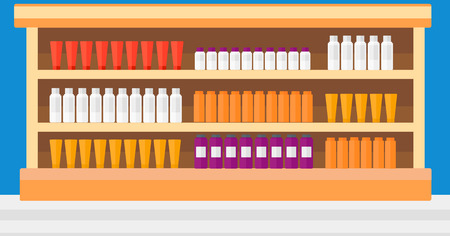 toiletry: Background of shelves in supermarket with toiletry vector flat design illustration. Horizontal layout.