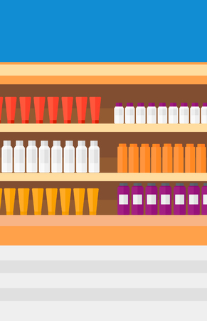 toiletry: Background of shelves in supermarket with toiletry vector flat design illustration. Vertical layout. Illustration