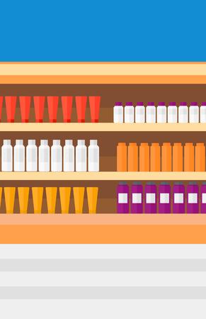 Background of shelves in supermarket with toiletry vector flat design illustration. Vertical layout. Illustration
