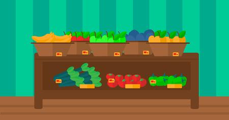 fruit stand: Background of vegetables and fruits on shelves in supermarket vector flat design illustration. Horizontal layout.