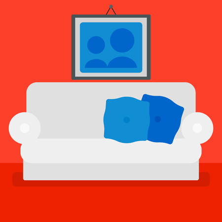 living room design: Background of red living room with sofa and picture on the wall vector flat design illustration. Square layout. Illustration
