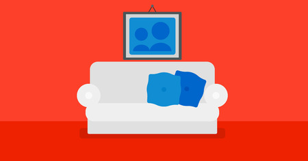 living room design: Background of red living room with sofa and picture on the wall vector flat design illustration. Horizontal layout.