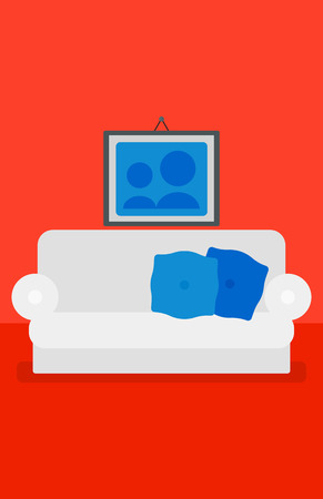 living room design: Background of red living room with sofa and picture on the wall vector flat design illustration. Vertical layout.