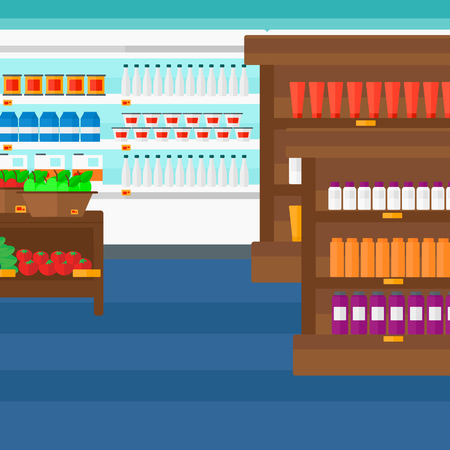 edibles: Background of supermarket shelves with products vector flat design illustration. Square layout.