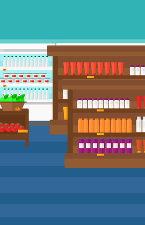 Background of supermarket shelves with products vector flat design illustration. Vertical layout.