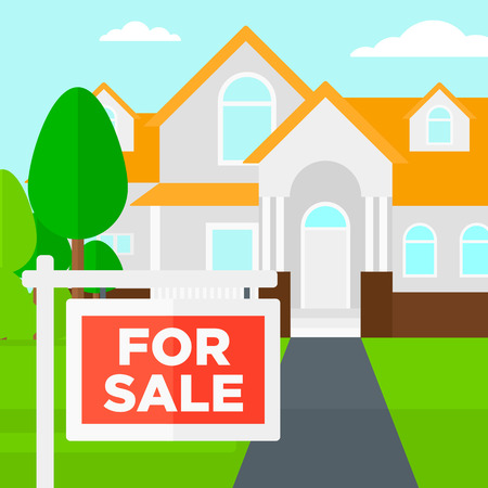 for sale sign: Background of house with for sale sign vector flat design illustration. Square layout. Illustration