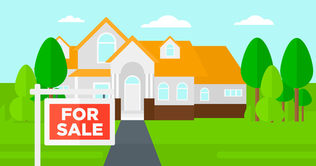 home sale: Background of house with for sale sign vector flat design illustration. Horizontal layout.