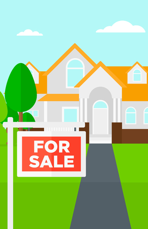 house for sale: Background of house with for sale sign vector flat design illustration. Vertical layout. Illustration