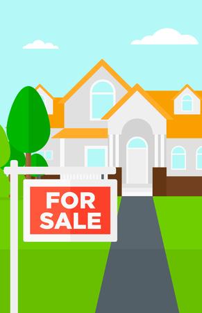 for sale sign: Background of house with for sale sign vector flat design illustration. Vertical layout. Illustration