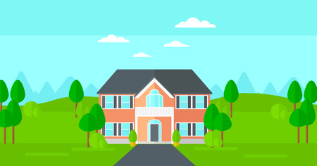 driveway: Background of house with beautiful landscape and driveway vector flat design illustration. Horizontal layout. Illustration