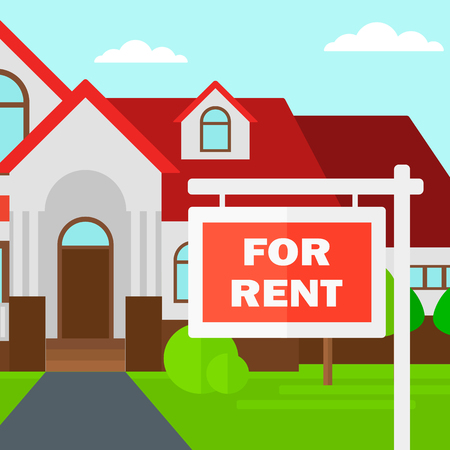 Background of house with for rent real estate sign vector flat design illustration. Square layout. Illusztráció