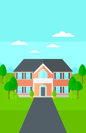 driveway: Background of house with beautiful landscape and driveway vector flat design illustration. Vertical layout. Illustration