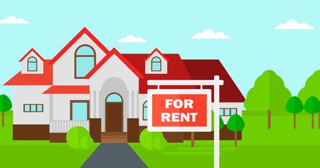 Achtergrond van huis met te huur onroerend goed teken vector platte ontwerp illustratie. Horizontale lay-out.