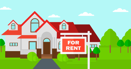 outdoor advertising construction: Background of house with for rent real estate sign vector flat design illustration. Horizontal layout.