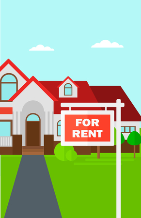 driveway: Background of house with for rent real estate sign vector flat design illustration. Vertical layout. Illustration