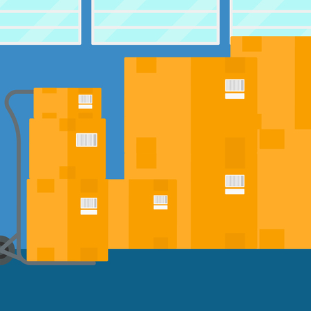 Background of cardboard boxes in warehouse vector flat design illustration. Square layout.