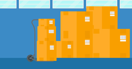 Background of cardboard boxes in warehouse vector flat design illustration. Horizontal layout.