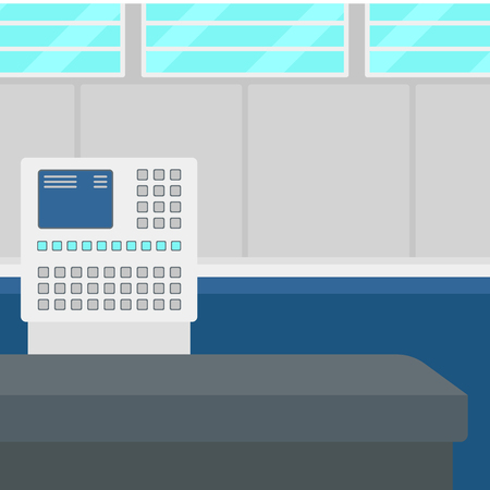 ticketing: Background of airport with self check-in kiosk vector flat design illustration. Square layout.