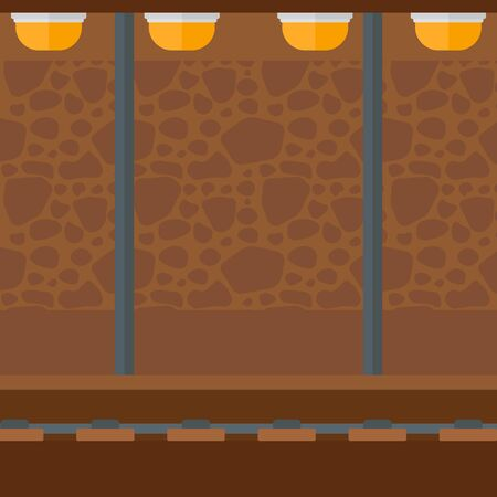 fast train: Background of subway tunnel vector flat design illustration. Square layout.