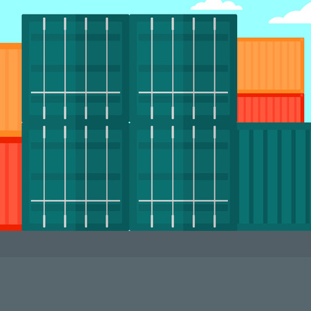 port: Background of shipping containers in port vector flat design illustration. Square layout.