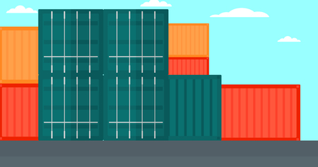 port: Background of shipping containers in port vector flat design illustration. Horizontal layout.