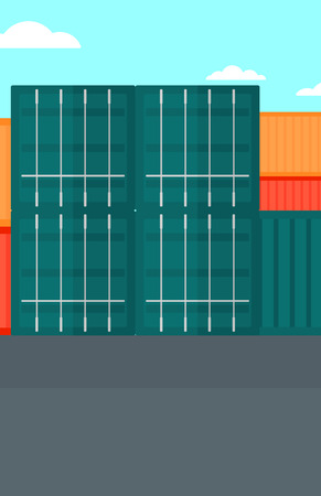 quay: Background of shipping containers in port vector flat design illustration. Vertical layout.